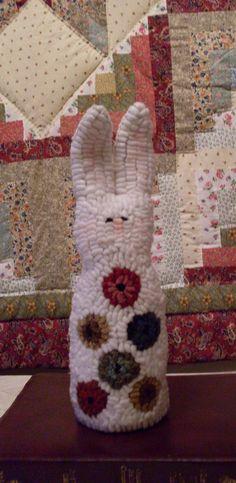 Primitive Folkart Hooked Rug Penny Rabbit Pillow by Rue23Paris, $69.00