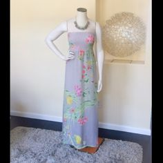 """Ombre Floral Maxi Dress Light-weight tube maxi. Light ombre gray with floral design. Length 50"""". Elastic bodice. Old Navy Dresses Maxi"""