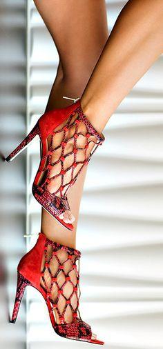 Ivanka Trump Red Caged High Heels