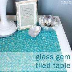 blue glass gem table