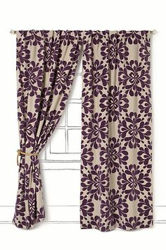 Love these purple curtains to spice things up! - Find similiar material to make Roman Shades - Dining Room.