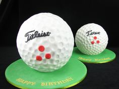 A big golf ball cake for the party and a small one for the family :)