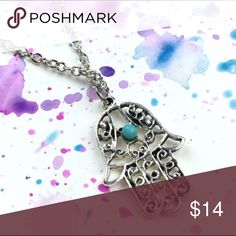 HAMSA HAND NECKLACE GOOD LUCK SILVER HAMSA HAND NECKLACE GOOD LUCK SILVER Jewelry Necklaces