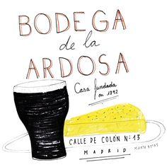 La mítica tortilla y el vermú de las Bodegas La Ardosa. Ilustrado por Marta Botas