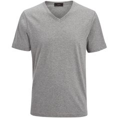 Joseph V Neck Mercerized Jersey Tee in GREY CHINE ($130) ❤ liked on Polyvore featuring men's fashion, men's clothing, men's shirts, men's t-shirts, grey chine, mens gray dress shirt, mens cotton shirts, mens vneck shirts, mens jersey shirts and mens short sleeve t shirts