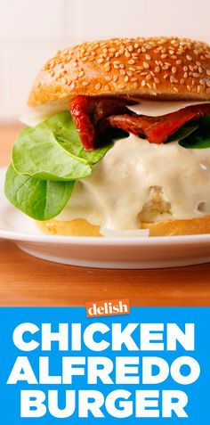 Chicken Alfredo Burgers will make you forget all about pasta. Get the recipe on Delish.com.