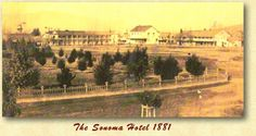 A sketch of the Sonoma Plaza from 1881. You can see the Sonoma Hotel, the Swiss Hotel and the beginnings of the plaza park.