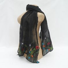 Black silk and wool dress scarf with floral detail £20.00