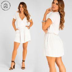 Un vestido corto ideal para lucir tu belleza. Haz clic en la imagen y compra online>> White Dress, Dresses, Fashion, Vestidos, Shirts, Blouses, Unique Clothing, Minimal Dress, Athletic Wear