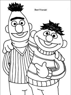 sesame street bert and ernie are best friend in sesame street coloring page