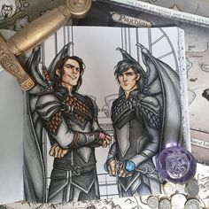 My ACOTAR Colouring Book ➳ Cassian and Azriel I really enjoyed colouring this one ♡ our baby bats look so good with Charlie's illustrations ahhh
