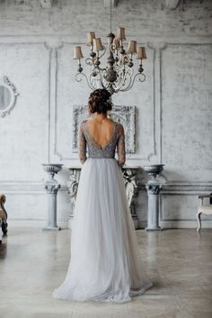 light grey lace and tulle wedding dress for brides