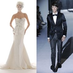 Brides.com: Groom Attire Ideas Inspired by the Bride's Gown                          Fashion-forward, but still grounded in tradition                                                                                 Gown by Elizabeth Fillmore; suit by Gucci