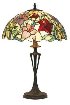 lampe de table de couleur rouge et verre et le style est tiffany par artistar référence 11100129