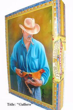 "Beautiful   Cigar Box w/Artwork on top ""Gallero"".Best Cuban Collection"