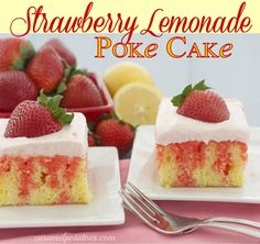 Strawberry Lemonade Poke Cake - A delicious bite of fresh strawberry lemonade flavor.  Perfect for summer celebrations!