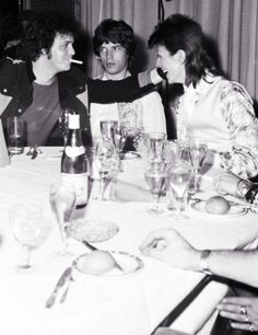Mick Jagger, David Bowie & Lou Reed in London after final Ziggy Stardust Concert • 1973