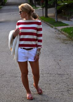 Casual outfit: red and white striped top and white shorts.---- this with green pants and brown boots