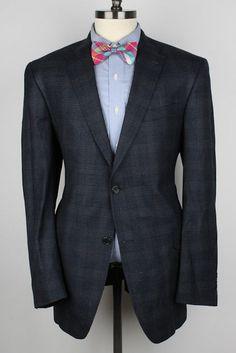 DANIEL CREMIEUX Grey Blue Plaid Loro Piana Wool 44 L mens Sport Coat Blazer #DanielCremieux #TwoButton