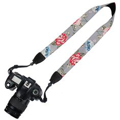 Elvam Camera Neck Shoulder Belt Strap for DSLR / SLR / Nikon / Canon / Sony / Olympus / Samsung / Pentax ETC - Gray Vintage Floral. High-quality pure fashion print cotton canvas webbing, black matched nylon and high-tensile plastic fasteners to ensure a great fashionable camera neck shoulder strap. The universal interfaces (the connectors) are compatible with various DSLR / SLR brands, like Canon, Nikon, Samsung, Pentax ETC. The adjustable length makes the camera strap applicable to most...