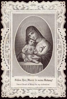 Sacred Heart of Jesus & Immaculate Heart of Mary Catholic Religion, Catholic Art, Catholic Saints, Religious Icons, Religious Art, Religious Pictures, Jesus E Maria, Vintage Holy Cards, All Souls Day