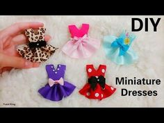 DIY 5 Designs Miniature Dresses Out of ribbons in Minutes (super Easy, no sewing machine) It was my first time doing miniature DIYs. 5 miniature designed by ...