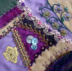 Crazy quilt... love the fancy embroidery and embellishments...pinned this for inspiration for garments, purses, belts