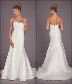 A silk, fit and flare bridal gown with a strapless, sweetheart neckline. | Wedding Dresses Under $1000