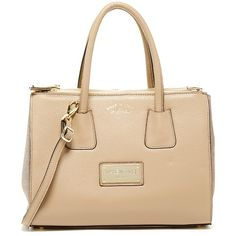 Valentino By Mario Valentino Patio Genuine Leather Satchel ($416) ❤ liked on Polyvore featuring bags, handbags, genuine leather purse, satchel purse, beige leather purse, handle satchel and satchel handbags