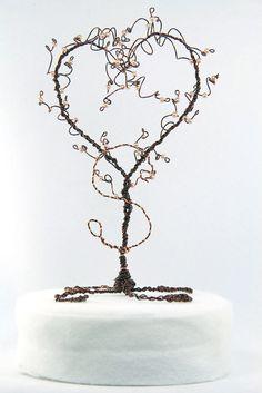 Wedding Cake Topper Heart Tree Topiary Sculpture Custom