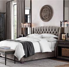 RH's Warner Tufted Fabric Bed With Nailheads:Like the classic wing chair it evokes, the sumptuously padded Warner bed invites you to linger.
