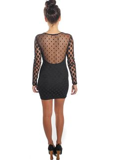 Chloe Sweetheart little black Dress Featuring sheer polka-dot detailing across bust and arms. $60
