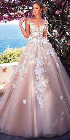 Stunning Tulle Off-the-shoulder Neckline See-through Bodice A-Line Wedding Dress With Lace Appliques & 3D Flowers & Beadings