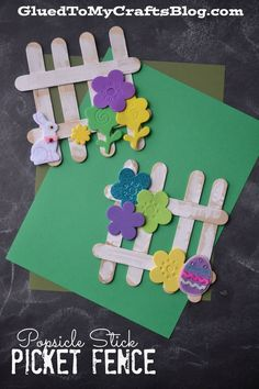 A fun spring craft for kids to make! Popsicle Stick Picket Fence