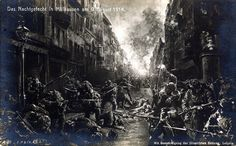9th. Aug. 1914. Night fighting in Mülhausen (Mulhouse) (Alsace), was the opening attack of the War by France against Germany. The battle was an attempt to recover Alsace, which the French had been forced to cede to the newly formed German Empire following France's defeat by Prussia in Franco-Prussian War of 1870.