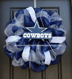 Dallas Cowboys Mesh Wreath - Cowboys Wreath.  Cute idea, just need to change the team to the Colts.