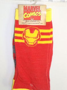 Ironman Socks Two Pack RED Gray Stripe Marvel Comic 2 pair sox set Iron Man NEW #MarvelComics #CasualCrewCALFHEIGHT