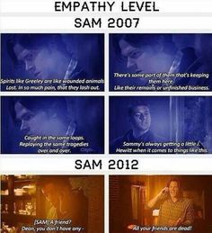 Character development? LOL <<< To be fair Dean was lying about hanging out with some friends and Sam called BS.