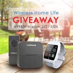 HAMSWAN - Win smart watches giveaway  Sweepstakes Prize  Enter to Win  Enter to win hamswan wireless home life giveaway. Our prize are 2pcs wireless doorbell and 4pcs smart watch. Avr $50.  ARV: $50.00 Winners: 5Open to: U.S.A 18 Expires: Sunday Feb. 26 2017 Entry: 1x once Type: facebook