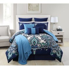 Give your bedroom a fresh new look with the Istanbul 16-piece Comforter Set. Complete with everything from matching shams, coordinating euro shams, decorative pillows and bedskirt but also a soft thro