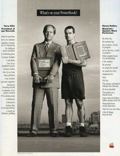 eightcookies:  Henry Rollins Apple PowerBook ad in Rolling Stone Magazine, 1994.  Feels appropriate for Cyber Monday.