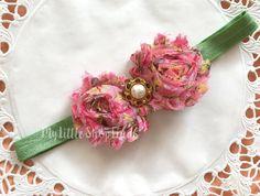Baby Headband pink flower by MylittleshopFinds on Etsy