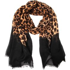 Jane Norman leopard print ombre scarf ($11) ❤ liked on Polyvore featuring accessories, scarves, natural, leopard print scarves, jane norman, leather shawl, leopard shawl and leather scarves
