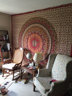Mandala wall hanging, rocking chair, wing back, side table, table lamp, book shelf Apartment Furniture, Rocking Chair, Bookshelves, Mandala, Shelf, Table Lamp, Tapestry, Living Room, Wall