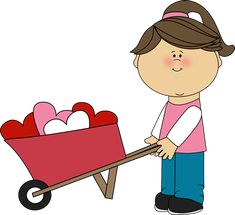 Valentine's Day Clip Art Free | Girl Pushing Wheelbarrow of Hearts Clip Art - Girl Pushing Wheelbarrow ...