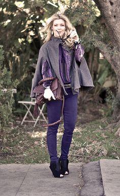gray cape - purple outfit - miu miu shoes-burgundy bag by ...love Maegan, via Flickr
