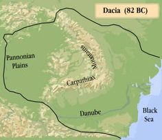 Transylvania - Transylvania within the Dacian Kingdom, during the rule of Burebista, 82 BC, stretching from the Black Sea to the Adriatic and from the Balkan Mountains to Bohemia Romania Map, Visual Map, Big Country, Historical Maps, Photo Essay, Ancient Civilizations, World History, Geography, Black Sea