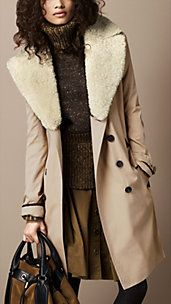Long Cotton Gabardine Shearling Collar Trench Coat