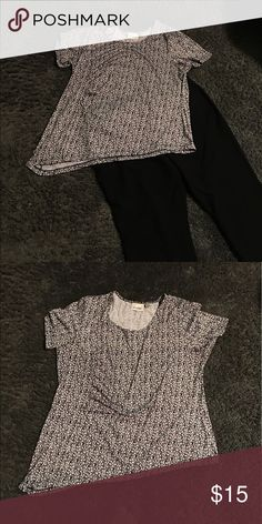 Size 18/20 Avenue Asymmetrical Shirt EUC black and white asymmetrical shirt with gathering on one side Avenue Tops Blouses