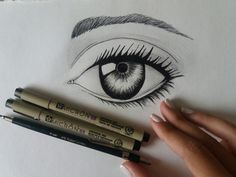 Eye, woman's eye, sketch, sketching, sketchbook, pen, Marker, ink